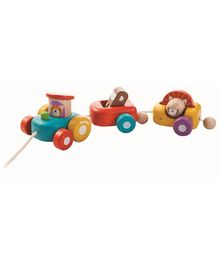 Plan Toys Happy Engine Wooden Pull Along Toy - Multicolour