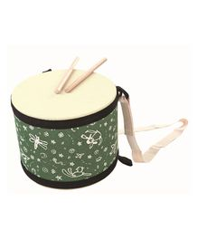 Plan Toys Wooden Big Drum With Sticks - Beige & Green