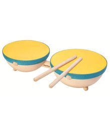Plan Toys Wooden Double Drum With Sticks - Beige & Yellow