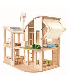 Plan Toys Wooden Dollhouse - Beige