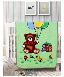 A Homes Grace Mink Baby Blanket Teddy Design - Sea Green