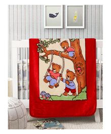 A Homes Grace Mink Baby Blanket Teddy Design - Red