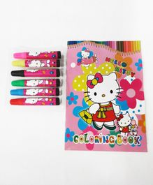 Funcart Hello Kitty Themed Colouring Book With Sketch Pens - English