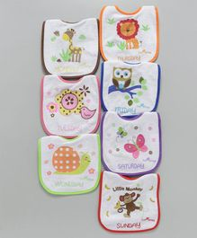 1st Step Weekdays Multiprint Bibs Pack of 7 - Multicolor