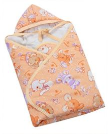 Tiny Care Hooded Blanket - Light Orange