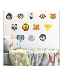 Chipakk Animal Faces Theme Wall Sticker - Multi Color
