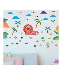 Chipakk Animal & Lion Theme Wall Sticker - Multi Color