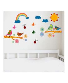Chippak Bird & Cloud Theme Wall Sticker - Multi Color