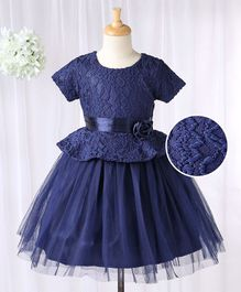 Babyhug Half Sleeves Peplum Dress - Blue