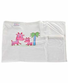 Tinycare Towel with Giraffe Print - White And Pink