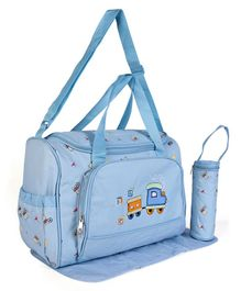Baby Diaper Bag With Changing Mat & Bottle Holder - Blue