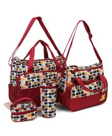Diaper Bag Set Changing Mat Bottle Holder & Lunch Box Bag - Red