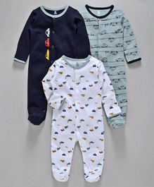 I Bears Full Sleeves Footed Romper Car Print Pack of 3 - Blue White
