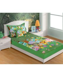 Swayam Jungle Theme Single Bed Sheet With 1 Pillow Cover - Green