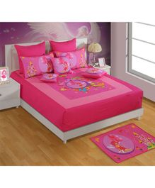 Swayam Fairy & Castle Print Double Bed Sheet With 2 Pillow Cover - Pink