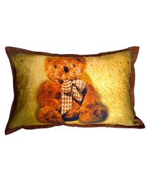 Swayam Pillow Cover Teddy Print - Golden