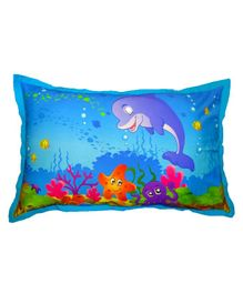 Swayam Pillow Cover Dolphin Print - Blue