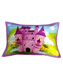 Swayam Pillow Cover Castle Print - Purple