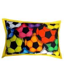 Swayam Pillow Cover Football Print - Multicolour