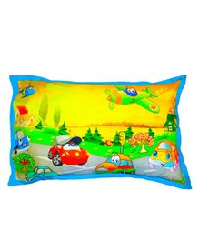 Swayam Pillow Cover Vehicle Print - Yellow