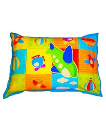 Swayam Pillow Cover Plane Print - Multicolour