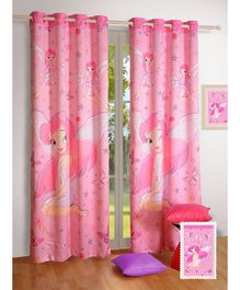Swayam Digitally Printed Eyelet Curtain - Pink