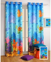 Swayam Digitally Printed Eyelet Curtain - Multicolour