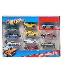 Hotwheels Die Cast Free Wheel Toy Car Pack of 10 - Colours & Designs May Vary)