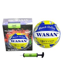 Wasan Volleyball And Inflating Pump - Blue Yellow