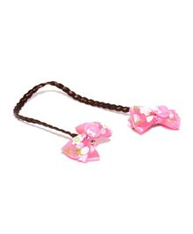 Golden Peacock Bow Alligator Hair Clip - Light Pink & Brown