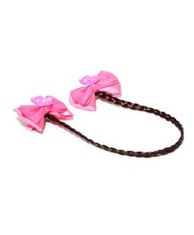 Golden Peacock Bow Alligator Hair Clip - Brown & Dark Pink