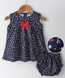 Dew Drops Sleeveless Floral Frock With Bloomer - Navy