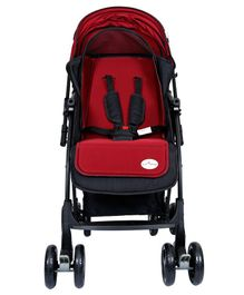 1st Step Baby Pram With 5 Point Safety Harness And Reversible Handlebar - Red
