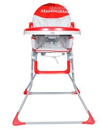 1st Step Flexi High Chair With 5 Point Safety Harness And Anti Skid Base -Red