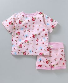 Nino Bambino Rose Print Top & Shorts Night Suit - Pink
