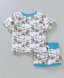 Nino Bambino Man On Horse Print Tee & Shorts Night Set - Blue