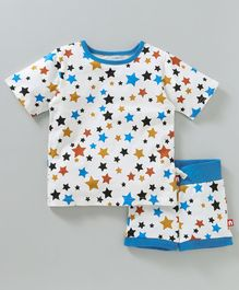 Nino Bambino Star Print Tee & Shorts Night Set - White