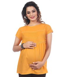 16ef919e7db Kriti Short Sleeves Solid Maternity Nursing Top - Mustard Yellow
