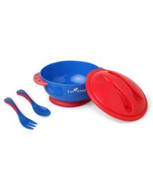 1st Step Feeding Bowl With Fork And Spoon - Red Blue