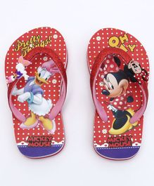 Mickey Mouse And Friends Flip Flops With Glittery Strap - Red