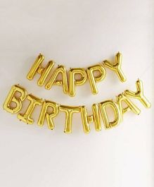 Shopperskart Happy Birthday Foil Balloons Golden - 13 Letters