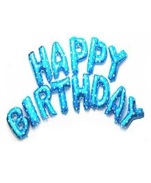 Shopperskart Happy Birthday Foil Balloons Blue - 13 Letters
