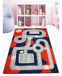 Saral Home Microfiber Floor Carpet Abstract Design - Blue Red