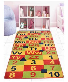 Saral Home Microfibre Carpet alphabet & Number Print - Multicolour