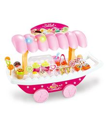 Webby Ice Cream Sweet Shopping Cart With Lights And Music - Pink
