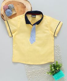 Rikidoos Half Sleeves Tie Attached T- Shirt - Light Yellow