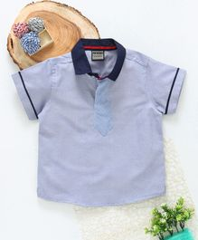 Rikidoos Half Sleeves Tie Attached T- Shirt - Blue