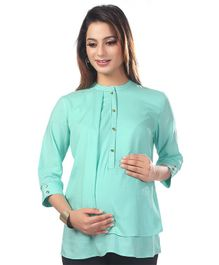 Kriti Three Fourth Sleeves Solid Maternity Nursing Top  - Sea Green