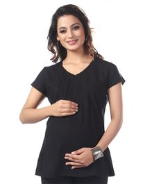 Kriti Short Sleeves Solid Maternity Nursing Top  - Black