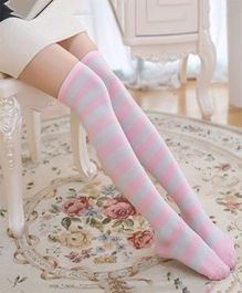 Flaunt Chic Striped High Knee Socks - Pink